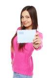 lycklig kvinna för kuvert Arkivbild