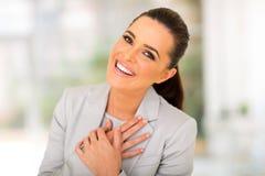 lycklig kvinna för affär Royaltyfria Bilder