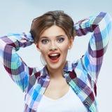lycklig kvinna härligt leendekvinnabarn Royaltyfria Bilder