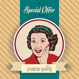 Lycklig kvinna, kommersiell retro clipartillustration Royaltyfri Bild