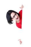 Lycklig kvinna med det blanka brädet Arkivfoton