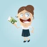 Lycklig kvinna med euroräkningen Arkivbild