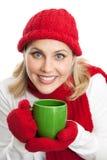 Lycklig kvinna med kaffekoppen Arkivfoto