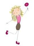 Lycklig kvinna med klubban stock illustrationer