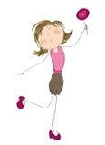 Lycklig kvinna med klubban vektor illustrationer
