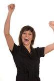 Lycklig kvinna med lyftta armar Royaltyfria Foton
