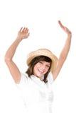 Lycklig kvinna med sugrörhatten Royaltyfria Bilder