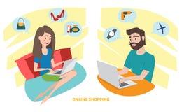 Lycklig kvinna och lycklig man som hemma gör online-shopping vektor illustrationer