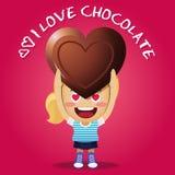 Lycklig kvinna som bär stor choklad Royaltyfri Bild