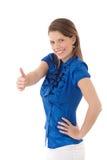 Lycklig kvinna som ger upp tumen Arkivbilder