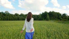Lycklig kvinna som stöter ihop med det gröna fältet i ultrarapid lager videofilmer