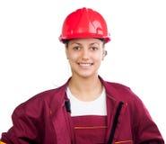 Lycklig kvinnlig byggnadsarbetare Fotografering för Bildbyråer