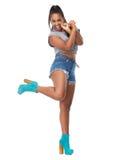 Lycklig kvinnlig dansare fotografering för bildbyråer