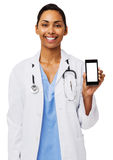 Lycklig kvinnlig doktor Showing Smart Phone Royaltyfri Fotografi