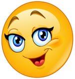 Lycklig kvinnlig emoticon royaltyfri illustrationer