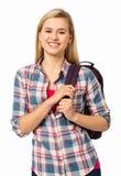 Lycklig kvinnlig högskolestudent Carrying Backpack Arkivbild
