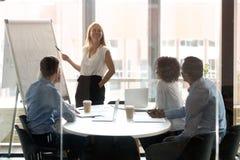 Lycklig kvinnlig ledare som framlägger arbetsresultat på seminariet i boardrooom arkivbilder