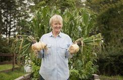 Lycklig kvinnlig trädgårdsmästare som samlar lökar från en odlingslott arkivfoto