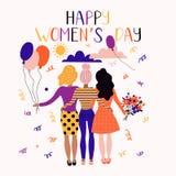 Lycklig kvinnors dagillustration Lyckliga kvinnor för rolig ferie med blommor fotografering för bildbyråer