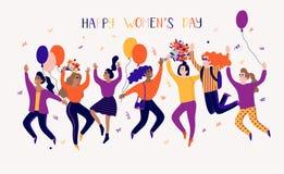 Lycklig kvinnors dagillustration Lyckliga le kvinnor för rolig ferie med blommor vektor illustrationer