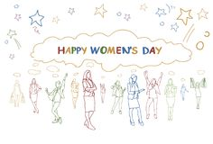Lycklig kvinnors grupp för baner för daghälsning av affischen för ferie för flickakonturklotter den färgrika stock illustrationer