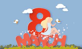 Lycklig kvinnors stil för papper för kort för dag8 mars vektor illustrationer
