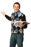 lycklig lärare för bok Royaltyfri Foto