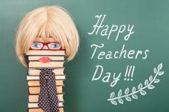 Lycklig läraredag Arkivbild