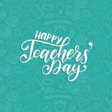 Lycklig läraredagaffisch, kort Vektorhandbokstäver på vit bakgrund royaltyfri illustrationer