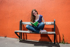 Lycklig läsebok för ung kvinna för fridsamt avbrott i gata arkivbild