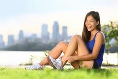 lycklig löparekvinna arkivfoton