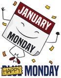 Lycklig lösblads- kalender med konfettier som slår Blue Monday, vektorillustration royaltyfri illustrationer