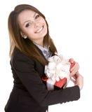 lycklig lady för födelsedagaffär Royaltyfria Foton