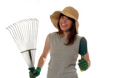 lycklig lady för trädgårdsmästare royaltyfri foto