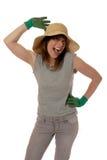 lycklig lady för trädgårdsmästare Fotografering för Bildbyråer