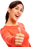 lycklig lady s som visar tumen upp barn Arkivbilder