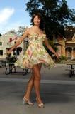 lycklig ladytown upp Royaltyfri Fotografi