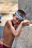 Lycklig lantlig indisk ung pojke Arkivbilder