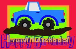lycklig lastbil för födelsedag arkivbild