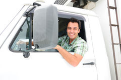 lycklig lastbil för chaufför Arkivbilder
