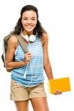 Lycklig latinamerikansk kvinnastudent som tillbaka går till skolan Royaltyfri Fotografi