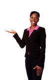 lycklig le kvinna för affär Arkivbild