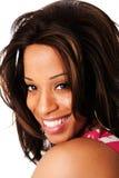 lycklig le kvinna för afrikansk framsida Royaltyfri Bild