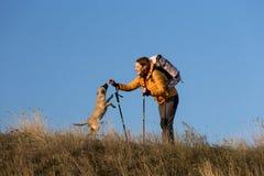 Lycklig le kvinna som fotvandrar i berg med hunden Arkivbild