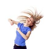 Lycklig le kvinnlig konditioninstruktör Fotografering för Bildbyråer