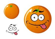 Lycklig le orange frukt för tecknad film Arkivbilder