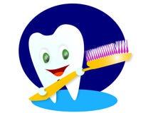 lycklig le tand stock illustrationer