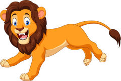 Lycklig lejonspring för tecknad film stock illustrationer