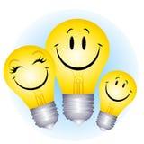 lycklig lightbulb för familj Fotografering för Bildbyråer