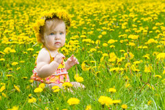 lycklig liten äng för flicka Arkivbilder